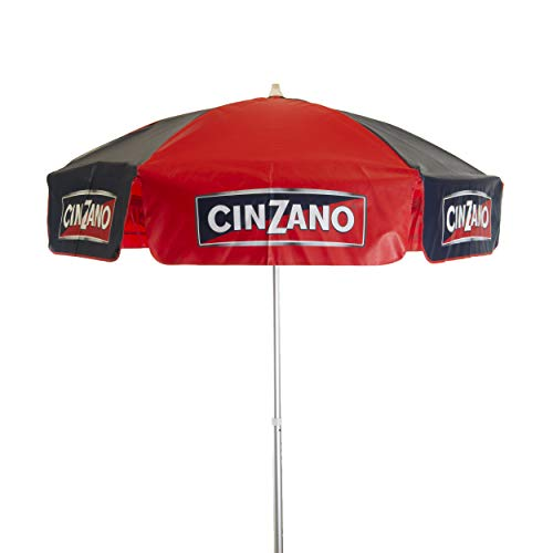 Heininger 1378 6 Foot Cinzano Red Blue 6' Vinyl Patio Pole Umbrella