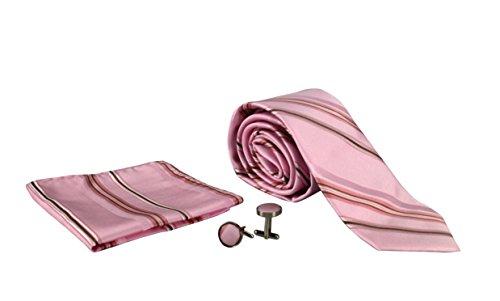 Peach Couture Men's Silk Feel Necktie Cufflinks Pocket Square Handkerchief Set (Stripe, Pink/Brown) (Stripes Cufflinks Necktie)
