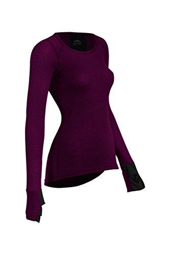 (Coldpruf Women's Zephyr Base Layer Long Sleeve Crew Neck Top, Plum, Medium)