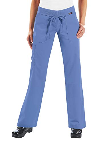 KOI Women's Size Tall Morgan Ultra Comfy Yoga-Style Cargo Scrub Pants, True Ceil, Small ()