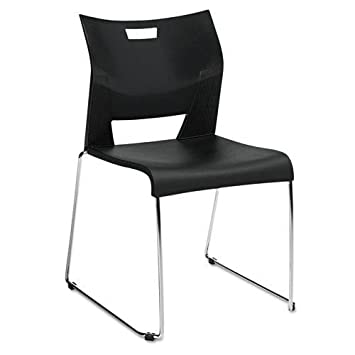 Global 6621CHBLK Duet Series Stacking Chair, Polypropylend, Black, 4 Chairs /Carton