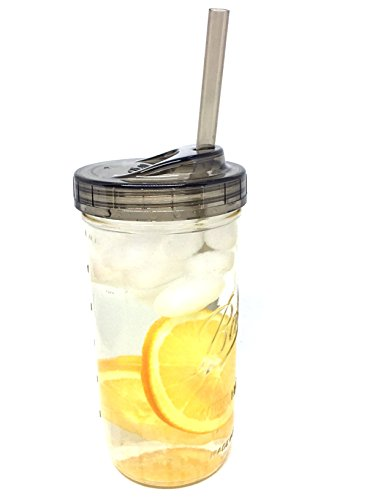Glass Mason Drinking Jar with One Piece Sip Lid and Straw (24oz Jar)