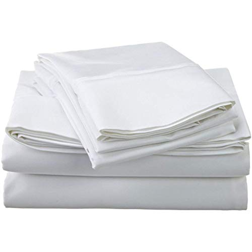 Scala Hotel Design Thread Count 650 Egyptian Cotton sheet sets King sheets Solid Deep Pocket 12 Inches White