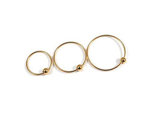 [Gold Nose Rings, Silver base, 14K Gold plated. (10mm)] (Esmeralda Costume Diy)