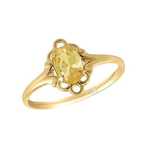Girl 14K Yellow Gold Oval Shape November Birthstone Genuine Citrine Ring (size 5 1/2)