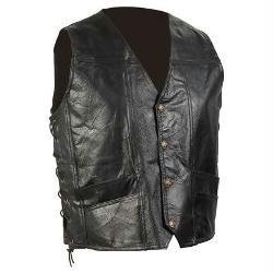 Biker Leather Goods - Diamond Plate Hand-sewn Pebble Grain Genuine Leather Biker Vest- Xl