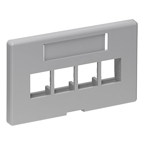 Leviton 49910-HG4 4-Port QuickPort Modular Furniture Faceplate (Herman Miller), Grey