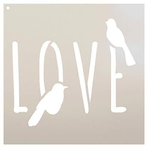 Stencil Love Bird - Bird Love - Word Art Stencil - 9