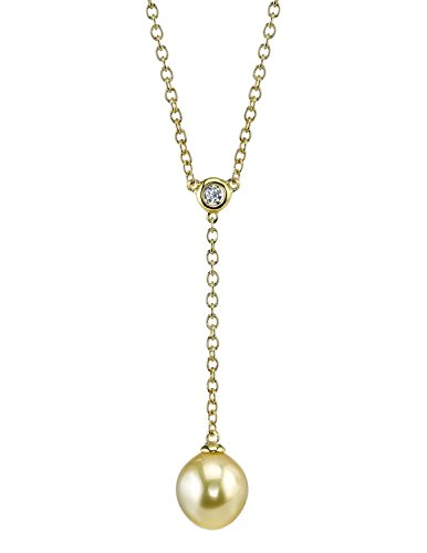 (THE PEARL SOURCE 9-10mm Drop-Shaped Genuine Golden South Sea Cultured Pearl Pendant Necklace for Women)