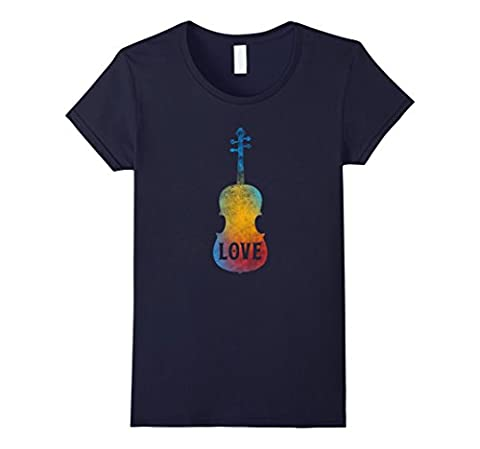 Womens Violin Player Teacher Student Gifts T Shirt Love Music Tee Medium Navy (Violins For Girls)
