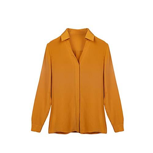 SIXIULIYU 100% Silk Crepe Shirt Natural Silk Crepe De Chine 14momme Long Sleeve Women Shirts (01, 5XL)