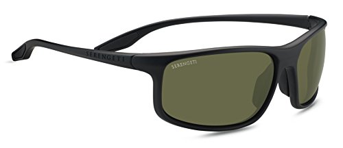 Serengeti Levanzo Sunglasses, Satin Black (555nm Polarized Lens Satin Gun)