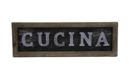Designstyles Vintage Kitchen Decor Plaques - Cucina Italian Decorative Wooden Wall and Door Signs - Classic Housewarming and Hostess Gifts - Stylish Urban Chic - Decorative Kitchen Plaque