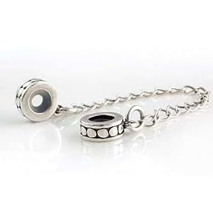General Gifts - Accesorios de joyería - plata de ley 925 ronda goma tapón seguridad cadena bolas con puntos de pandora, biagi, chamilia, troll y más pulseras