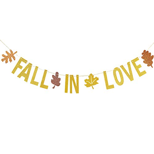 Fall In Love Banner (Gold Glittery Fall In Love Banner for Thanksgiving Holiday Party Decorations,Fall Theme Wedding Party Decor,Fall Autumn Mantle Home)
