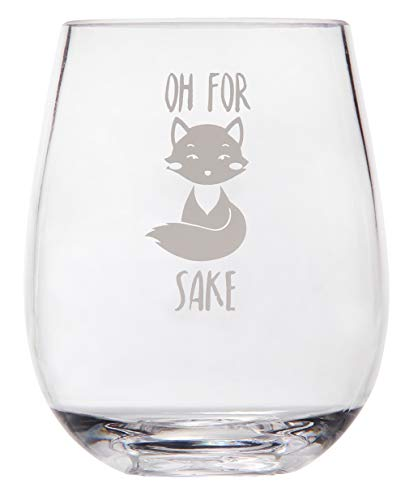 Offbeat Gifts Oh For Fox Sake - Funny Wine Glass Saying - Fox Themed Unbreakable Stemless Plastic Wine Glass - Funny Gift for Women or Men- Fox Lover Coworker Gift - Shatterproof Safe for Outdoor Use (Glass Fox)