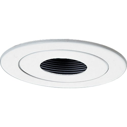 Ic Stepped Baffle Trim (Progress Lighting P8042-28 Pinhole Spot Ic Trims with 360 Degree Positioning That Tilt 20 Degrees with 5-Inch Outside Diameter, Bright White)