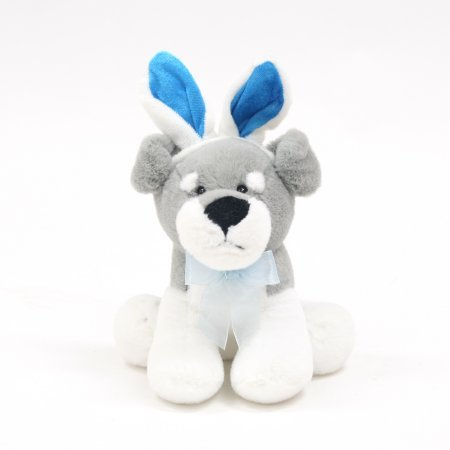 Cute Easter Puppy Wearing Bunny Costume: Grey and White