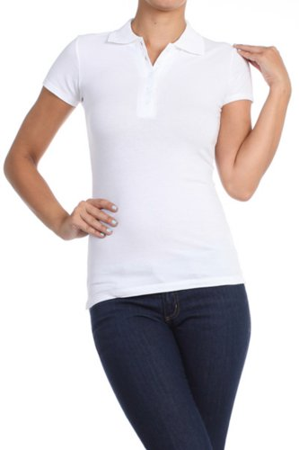 Women's Basic Solid Polo T-Shirt by BLVD White Small