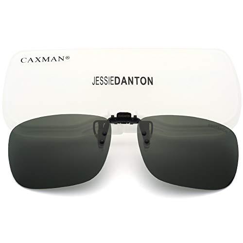 (CAXMAN Polarized Clip On Sunglasses Over Prescription Glasses for Men Women UV Protection Flip Up Green Lens Large Size)