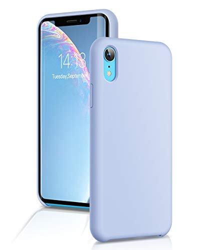 GVIEWIN Silicone Case for iPhone XR, Slim Liquid Silicone Soft Rubber Protective Phone Case Cover (with Soft Microfiber Lining) Compatible with iPhone XR 6.1, Light Blue