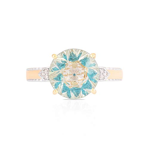 Lehrer KaleidosCut 10K Yellow Gold Ring For Women 2.90 Cttw Round Cut Green Amethyst Apatite With Natural Diamond