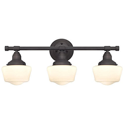Westinghouse 6342100 Scholar Three-Light Indoor Wall Fixture, Oil Rubbed Bronze Finish with White Opal Glass