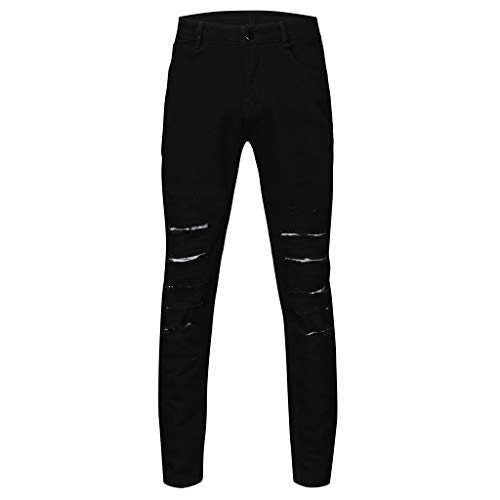 TANLANG♥ Men Personalized Straight Hole Jeans Night-Reflective Trouser Long Pants Straight Fit Moto Biker Jeans Black