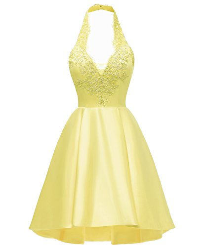 Yilis Halter Neck A Line Lace Homecoming Dress Short Prom Gown Party Dress Yellow US6 from Yilis