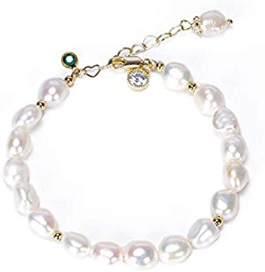 XBJ Pulsera de Mujer, Pulsera de Perlas Naturales Irregulares de Agua Dulce, Pulsera de Cristal de aventurina Verde de Temperamento Simple