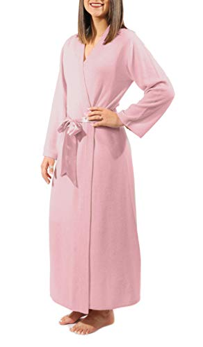 Gigi Reaume 100% Cashmere Soft Women's Robe, Kimono Wrap Style, Satin Belt, Short and Long Length (Small, Rose Long)