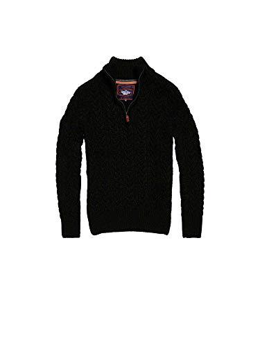 Zip Knit Jumper - Superdry Men's Jacob Henley Zip Knit, Black, Large