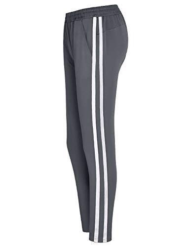 Blevonh Grey Sweatpants for Women,Youth Girls Slimming Skinny Legs Petite High-Waist Original Pants Teenage 2 White Stripe Gym Joggers Feminine Travel Active Wear Classic Fit Sport Sweats M (For Girls Teenage Sweats)