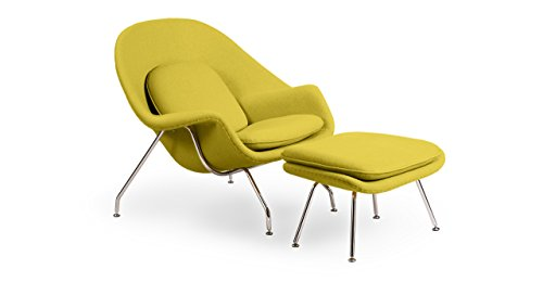 Kardiel Womb Chair & Ottoman, Dijon Boucle Cashmere (Molded Fiberglass Lounge Chair)