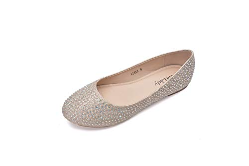 (Mila Lady Sparkly Crystals Rhinestone Comfortable Slip On Ballet Flat Shoes for Women Wedding Party Office, Vikki Champagne Size 10)