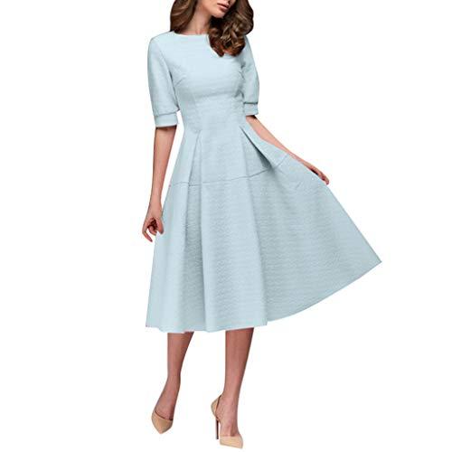 (Lotus.Flower Women Printing A-line Elegant Ruffles Short Sleeve Knee-Length Vintage Dress Blue)