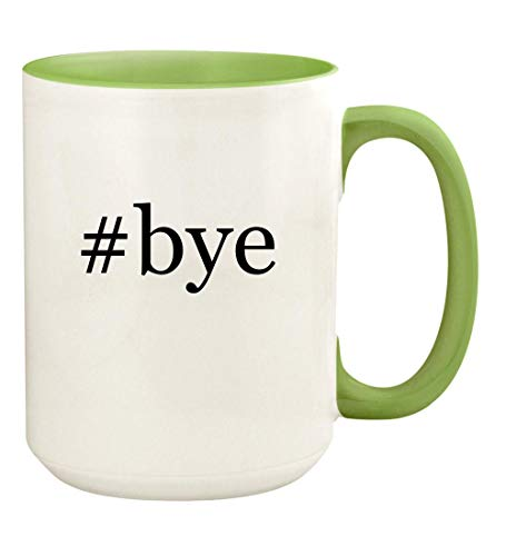 (#bye - 15oz Hashtag Ceramic Colored Handle and Inside Coffee Mug Cup, Light Green)