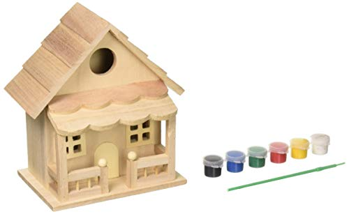 (Creative Crafts Unfinished Deluxe Wooden Birdhouse with Perch)