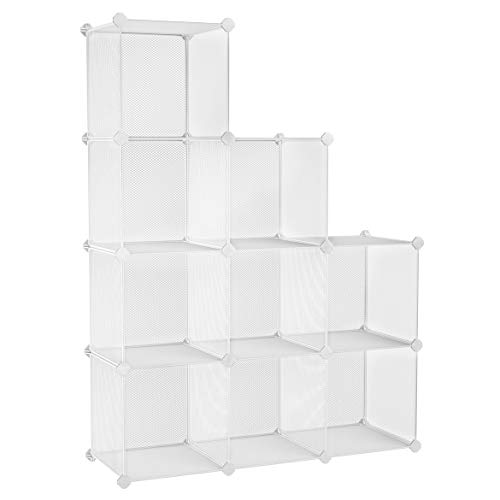 SONGMICS 9-Cube Metal Mesh Storage Cube, Storage Shelves Organizer, Modular Bookcase, DIY Closet Cabinet Shelf for Books, Plant, Toys, Shoes, Clothes 36.6 L x 12.2 W x 48.4 H Inches, White ULPL115WV1 (Modular White Bookcase)