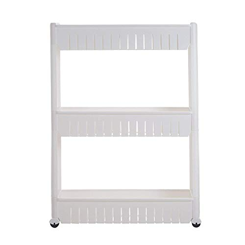Windaze Mobile Shelving with 3 Large Storage Baskets, Slim Slide Out Pantry on Rollers for Narrow Space by windaze