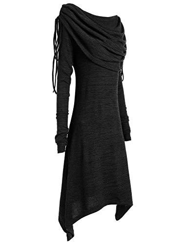 Vestido de Punto de Mujer, ZODOF 2019 Vestido Corto con Escote de Manga Larga Vestido de Fiesta Sexy y Elegante Moda de Encaje botón Patchwork Arco-Cuello ...