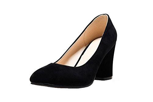 AgooLar Damen Hoher Absatz PU Rein Ziehen auf Schließen Zehe Pumps Schuhe  Schwarz