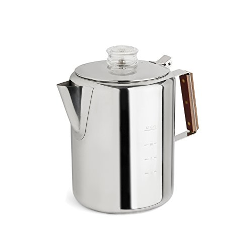 Tops 55705 Rapid Brew Stovetop Coffee Percolator, Stainless Steel, 2-12 Cup (Percolator Camping Stainless)