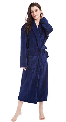 obe Long Shawl Collar Plush Robe (XL, Navy Blue) ()