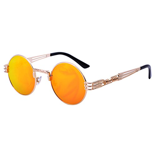 YANQIUYU Gothic John Lennon Metal Spring Frame Round Steampunk Sunglasses retro shade Available (Gold Frame/Orange Mirrored Lens, - Mall Of Orange Stores