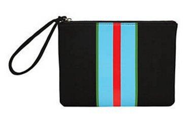 Rowley Stripes - Cynthia Rowley GO Flat Pouch/Clutch, Black w/ Red/Green/Blue Stripes
