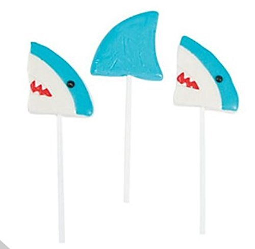 12 Shark Lollipop Suckers - Shark Party Favors and Candy]()