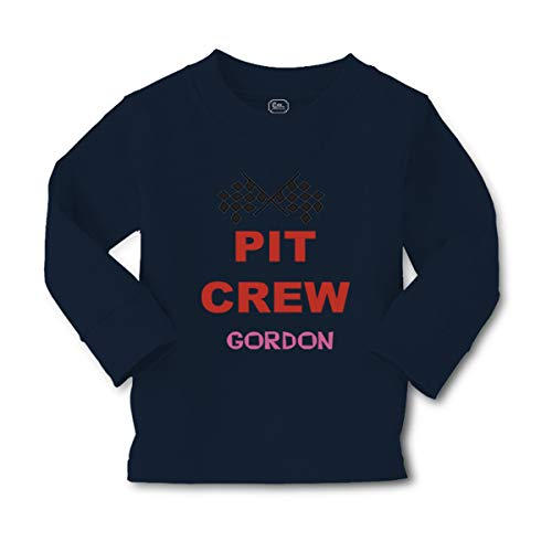 Personalized Custom Sports Pit Crew Long Sleeve Crewneck Toddler Boys-Girls Cotton T-Shirt Tee - Navy, 3T