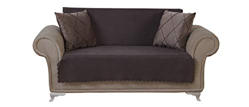 Chiara Rose Diamond Loveseat Slipcover 2 Seat Sofa Cover 1 Piece Couch Furniture Protector Brown