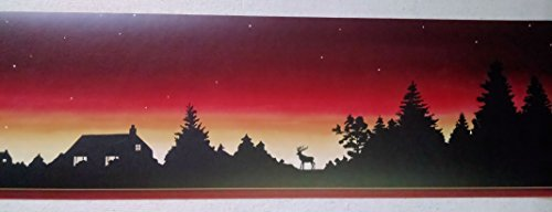 Wallpaper Border Lodge Log Cabin Moose Sunset Silhouette Stars At Night by The Wallpaper and Border Store